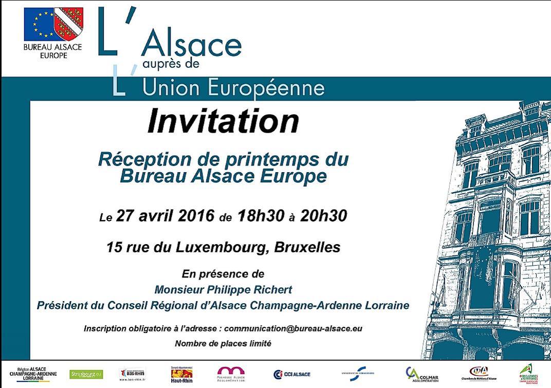 Belgique Bureau Alsace Europe Réception de printtemps 27 avril 2016